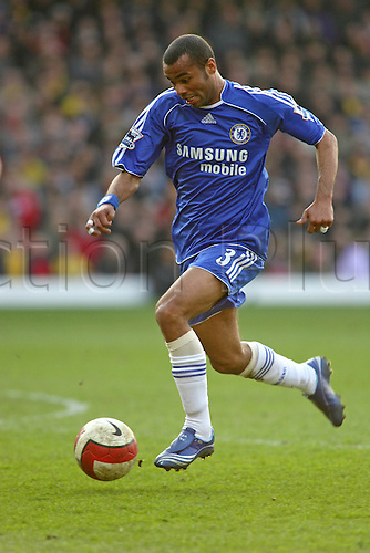 31 March 2007: Chelsea defender Ashley Cole runs with the ball during the Premiership game between Watford and Chelsea, played at Vicarage Road. Chelsea won the match 1-0. Photo: Actionplus....060820 football soccer player