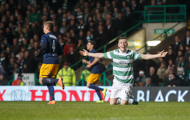 Callum McGregor appeals for a penalty