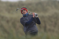 Thomas Higgins (Roscommon) on the 13th tee during Round 2 of the Ulster Boys Championship at Portrush Golf Club, Portrush, Co. Antrim on the Valley course on Wednesday 31st Oct 2018.<br /> Picture:  Thos Caffrey / www.golffile.ie<br /> <br /> All photo usage must carry mandatory copyright credit (&copy; Golffile | Thos Caffrey)