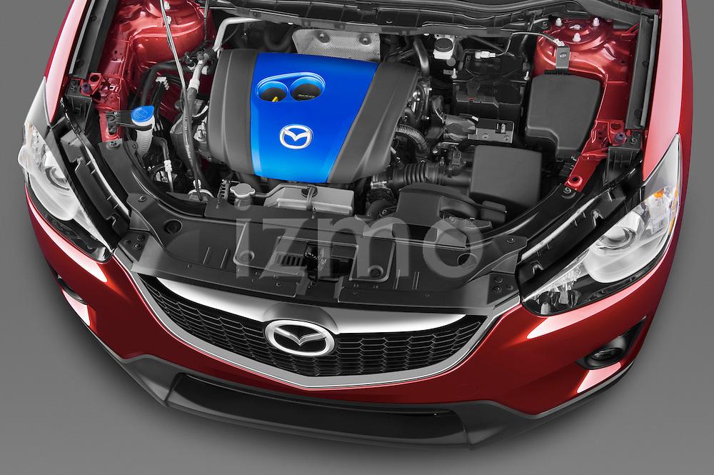 High angle engine detail of a 2013 Mazda CX-5 GT .