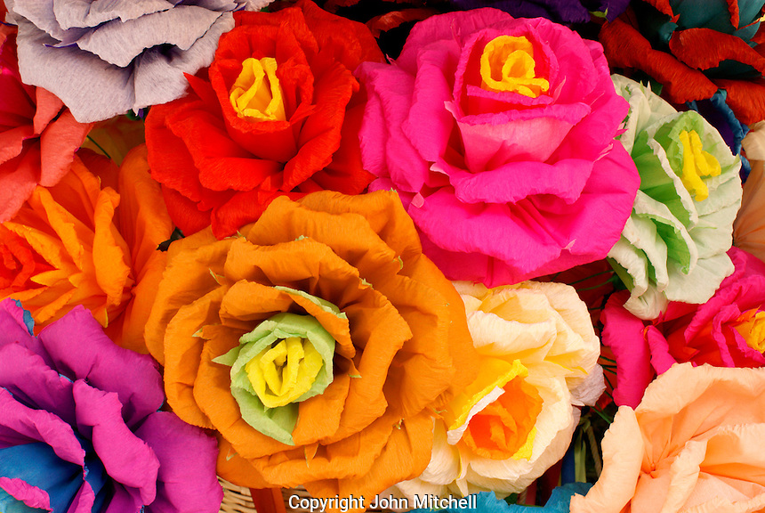 Artificial crepe paper flowers in San Miguel de Allende, Mexico. These flowers were created by San Miguel artist Maria Luisa.