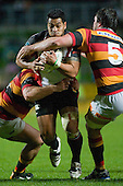 Niva Ta'auso is gang tackled by Nathan White & Toby Lynn. Air New Zealand Cup rugby game between Waikato & Counties Manukau played at Rugby Park, Hamilton, on the 17th of August , 2007. Haltime 8 - 8. Fulltime Waikato 30 - Counties Manukau 8.
