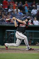 Austin Allen (34) of the Lake Elsinore Storm bats against the Inland Empire 66ers at San Manuel Stadium on April 29, 2017 in San Bernardino, California. Inland Empire defeated Lake Elsinore, 3-1. (Larry Goren/Four Seam Images)