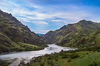Hells Canyon NRA, Oregon/Idaho:<br /> Morning clouds and view of the Snake river above the confluence with the Salmon river.