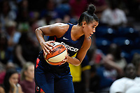 Washington, DC - July 30, 2019: Washington Mystics guard Natasha Cloud (9) with the ball during first half action of game between the Phoenix Mercury and Washington Mystics at the Entertainment & Sports Arena in Washington, DC. (Photo by Phil Peters/Media Images International)