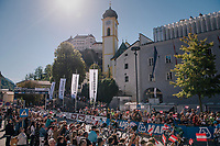 race start in Kufstein<br /> <br /> MEN JUNIOR ROAD RACE<br /> Kufstein to Innsbruck: 132.4 km<br /> <br /> UCI 2018 Road World Championships<br /> Innsbruck - Tirol / Austria