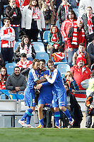 07.04.2012 SPAIN -  La Liga matchday 32th  match played between Getafe vs Sporting at Coliseum Alfonso Perez stadium (2-0). Picture show Getafe C.F. player´s celebrating his team's goal