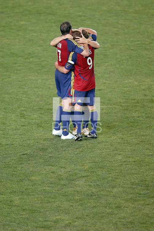 Real Salt Lake players hug after beating the Los Angeles Galaxy 3-0 at the Home Depot Center in Carson, CA on Saturday night, May 13, 2006.