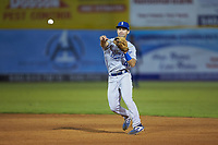 Burlington Royals second baseman Jack Gethings (49) makes a throw to first base against the Pulaski Yankees at Calfee Park on September 1, 2019 in Pulaski, Virginia. The Royals defeated the Yankees 5-4 in 17 innings. (Brian Westerholt/Four Seam Images)