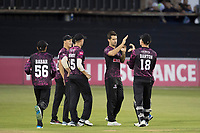 Tim Groenewald of Somerset CCC celebrates the wicket of Delport during Essex Eagles vs Somerset, Vitality Blast T20 Cricket at The Cloudfm County Ground on 7th August 2019