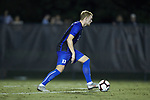 Aedan Stanley (5) of the Duke Blue Devils during first half action against the Wake Forest Demon Deacons at W. Dennie Spry Soccer Stadium on September 29, 2018 in Winston-Salem, North Carolina.  The Demon Deacons defeated the Blue Devils 4-2.  (Brian Westerholt/Sports On Film)