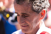 23rd March 2018, Melbourne Grand Prix Circuit, Melbourne, Australia; Melbourne Formula One Grand Prix, Friday free practice; Ex-F1 driver Alain Prost a visitor in the pits