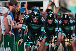 Bora-Hansgrohe in action during Stage 1 of La Vuelta 2019, a team time trial running 13.4km from Salinas de Torrevieja to Torrevieja, Spain. 24th August 2019.<br /> Picture: Colin Flockton | Cyclefile<br /> <br /> All photos usage must carry mandatory copyright credit (© Cyclefile | Colin Flockton)