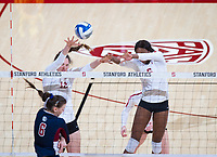 STANFORD, CA - December 1, 2018: Audriana Fitzmorris, Tami Alade at Maples Pavilion. The Stanford Cardinal defeated Loyola Marymount 25-20, 25-15, 25-17 in the second round of the NCAA tournament.