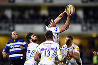 Sam Skinner of Exeter Chiefs claims the ball in the air. Aviva Premiership match, between Bath Rugby and Exeter Chiefs on March 23, 2018 at the Recreation Ground in Bath, England. Photo by: Patrick Khachfe / Onside Images