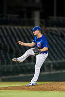 AZL Cubs relief pitcher Brendan King (55) follows through on his delivery against the AZL Diamondbacks on August 11, 2017 at Sloan Park in Mesa, Arizona. AZL Cubs defeated the AZL Diamondbacks 7-3. (Zachary Lucy/Four Seam Images)