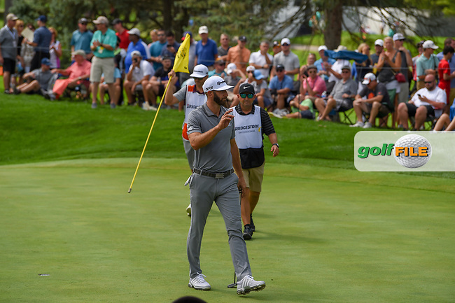Dustin Johnson (USA) after sinking his putt on 3 during 1st round of the World Golf Championships - Bridgestone Invitational, at the Firestone Country Club, Akron, Ohio. 8/2/2018.<br /> Picture: Golffile | Ken Murray<br /> <br /> <br /> All photo usage must carry mandatory copyright credit (© Golffile | Ken Murray)