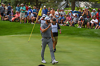 Dustin Johnson (USA) after sinking his putt on 3 during 1st round of the World Golf Championships - Bridgestone Invitational, at the Firestone Country Club, Akron, Ohio. 8/2/2018.<br /> Picture: Golffile | Ken Murray<br /> <br /> <br /> All photo usage must carry mandatory copyright credit (&copy; Golffile | Ken Murray)