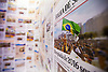 A close up of a newspaper collage of articles from Brazilian and international newspapers reporting Rio's win to host the 2016 Olympic games, as part of the Casa Brazil exhibition at Somerset House, London.