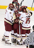 Carl Sneep (BC - 7), Brian Dumoulin (BC - 2), Cam Atkinson (BC - 13), Joe Whitney (BC - 15) - The Boston College Eagles defeated the Yale University Bulldogs 9-7 in the Northeast Regional final on Sunday, March 28, 2010, at the DCU Center in Worcester, Massachusetts.