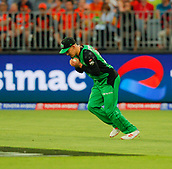 3rd February 2019, Optus Stadium, Perth, Australia; Australian Big Bash Cricket League, Perth Scorchers versus Melbourne Stars; Nic Maddinson of the Melbourne Stars takes the catch to dismiss Michael Klinger of the Perth Scorchers