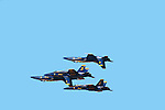 The United States Navy's Navy Flight Demonstration Squadron, popularly known as the Blue Angels,first performed in 1946 and is currently the oldest formal flying aerobatic team. They fly F/A-18 Hornets at air shows and special events to boost recruiting for both the United States Navy and the Marine Corps.<br />