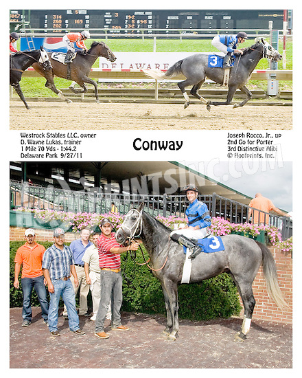 Conway winning at Delaware Park  on 9/27/11