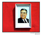 NR00740 / Painted portrait of Kim Il Sung, used for the annual anniversary of his birth 15 April. Although he deceased in 1994, he remains the President for Life of North Korea. This year North Koreans will celebrate the 10th anniversary of his death...Portrait de Kim Il Sung, utilisée pour la celebration annuelle de son anniversaire. Bien qu'il soit décédé en 1994, il demeure le President a Vie de la Coree du Nord. Cette annee, les Nord-Coreens celebrerons le 10ieme anniversaire de sa mort...Pyongyang, Coree du Nord, Archives north coreenne,..©Nicolas Righetti/Rezo