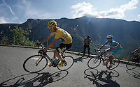 Chris Froome (GBR/SKY) up the Lacets de Montvernier (2C/782m/3.4km, 8.2%) directly tailed by Vincenzo Nibali (ITA/Astana)<br /> <br /> stage 18: Gap - St-Jean-de-Maurienne (187km)<br /> 2015 Tour de France