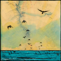 Encaustic photography of birds over sea and antique map. SOLD