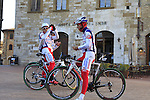 Androni Giocattoli-Venezuela team riders in San Gimignano start point of the 2015 Strade Bianche Eroica Pro cycle race running 200km over the white gravel roads from San Gimignano to Siena, Tuscany, Italy. 6th March 2015<br /> Photo: Eoin Clarke www.newsfile.ie