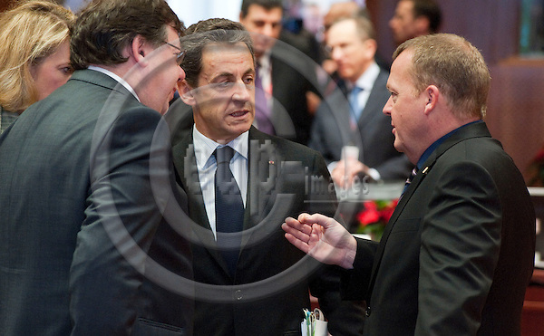 Brussels-Belgium - December 17, 2010 -- European Council, EU-summit under Belgian Presidency; here, Brian COWEN (le), Prime Minister of Ireland, Nicolas SARKOZY (ce), President of France, Lars Lokke RASMUSSEN (ri), Prime Minister of Denmark -- Photo: Horst Wagner / eup-images