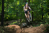 NWA Democrat-Gazette/BEN GOFF @NWABENGOFF<br /> Vincent Edwards, rides coordinator for Ozark Off Road Cyclists, rides Friday, July 20, 2018, at Fitzgerald Mountain in Springdale.
