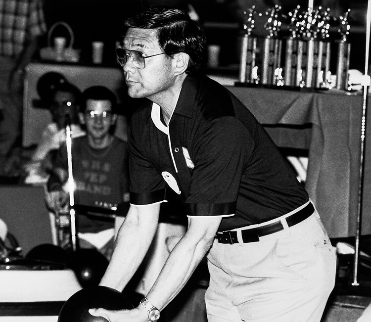 Rep. Norman Mineta, D-Calif. bowling in 1979. (Photo by CQ Roll Call)