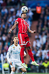 David Alaba of FC Bayern Munich heads the ball during the UEFA Champions League Semi-final 2nd leg match between Real Madrid and Bayern Munich at the Estadio Santiago Bernabeu on May 01 2018 in Madrid, Spain. Photo by Diego Souto / Power Sport Images