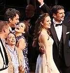 """Jack McBrayer, Rachel Dratch, Jerry O'Connell, Rachel Bloom, Laura Osnes, Tony Yazbeck during the Manhattan Concert Productions 25th Anniversary concert performance of """"Crazy for You"""" at David Geffen Hall, Lincoln Center on February 19, 2017 in New York City."""