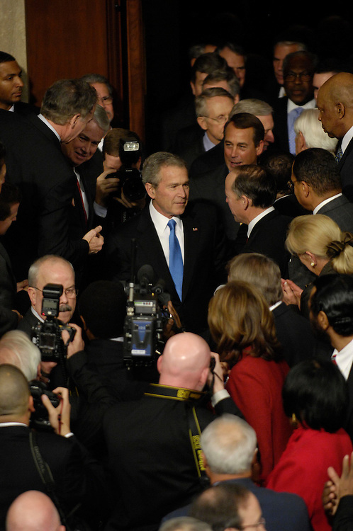 WASHINGTON, DC - Jan. 28: President George W. Bush arrives to deliver his final State of the Union address to a joint session of the U.S. Congress.  (Photo by Scott J. Ferrell/Congressional Quarterly)