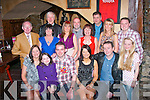 JOINT PARTY: Last Saturday night Cassidy's restaurant, Tralee was the venue for the double 40th birthday celebration of Eric Lehane, Connolly Pk, Tralee and his sister in law, Brenda Lehane, Bruach na hAbhainn, Tralee both seated 3rd and 4th left, also seated is Elaine and Chloe Lehane (lt) with Bo and Julia Lehane (rt). Standing l-r: Ernie and Teresa Lehane, Ted O'Sullivan, Angelina and Johnny Moriarty, Anita Looney, Pat Cronin with Mary and Philip Lehane.