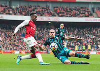 Arsenal's Danny Welbeck and Southampton's Oriol  Romeu during the EPL - Premier League match between Arsenal and Southampton at the Emirates Stadium, London, England on 8 April 2018. Photo by Andrew Aleksiejczuk / PRiME Media Images.