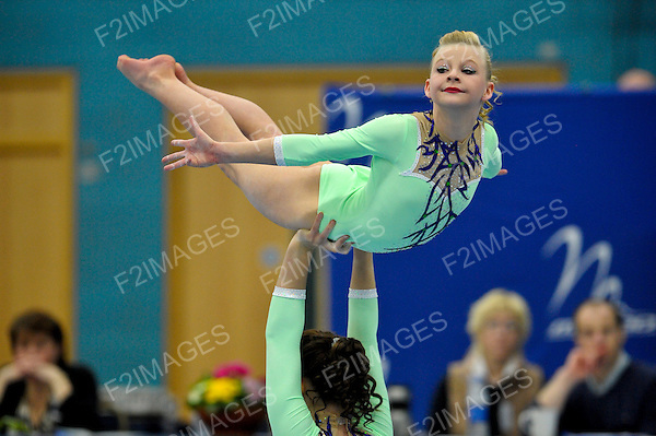 24.03.2012 Gymnastics, British Acrobatics Championships.Hannah Mellor, Erica Bayliss..South Staffs