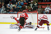 Alex Petizian (St. Lawrence - 30), George Hughes (St. Lawrence - 15), Louis Leblanc (Harvard - 20) - The St. Lawrence University Saints defeated the Harvard University Crimson 3-2 on Friday, November 20, 2009, at the Bright Hockey Center in Cambridge, Massachusetts.