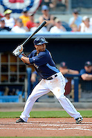 Tampa Bay Rays outfielder Desmond Jennings #8 during a Grapefruit League Spring Training game against the Boston Red Sox at Charlotte County Sports Park on February 25, 2013 in Port Charlotte, Florida.  Tampa Bay defeated Boston 6-3.  (Mike Janes/Four Seam Images)