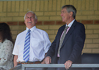 a happy Former Chairman & Current Board Member Ivor Beeks (left) during the Sky Bet League 2 match between Wycombe Wanderers and Plymouth Argyle at Adams Park, High Wycombe, England on 12 September 2015. Photo by Andy Rowland.