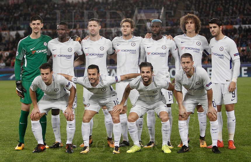 Football Soccer: UEFA Champions League AS Roma vs Chelsea Stadio Olimpico Rome, Italy, October 31, 2017. <br /> Chelsea's players pose for the pre match photograph prior to the start of he Uefa Champions League football soccer match between AS Roma and Chelsea at Rome's Olympic stadium, October 31, 2017.<br /> UPDATE IMAGES PRESS/Isabella Bonotto
