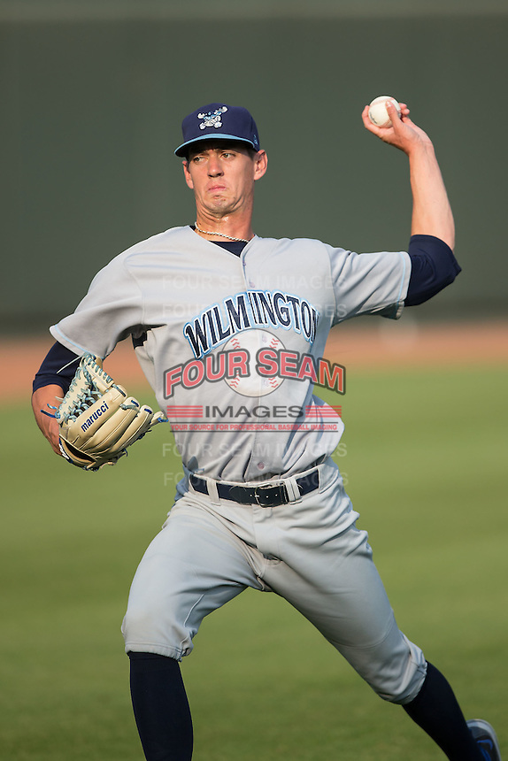 Wilmington Blue Rocks starting pitcher Eric Skoglund (25) warms up in the outfield prior to the game against the Winston-Salem Dash at BB&T Ballpark on June 10, 2015 in Winston-Salem, North Carolina.  The Blue Rocks defeated the Dash 11-5.  (Brian Westerholt/Four Seam Images)