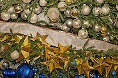 """Detail of the decorations on the White House Christmas tree, an 18.5 foot Fraser fir, in the Blue Room on the State Floor as part of the 2015 White House Christmas theme """"A Timeless Tradition"""" at the White House in Washington, DC on Wednesday, December 2, 2015. <br /> Credit: Ron Sachs / CNP"""
