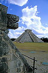 The ruins of the serpent Kukulcan look toward 'El Castillo' pyramid from the Platform of the Eagles and Jaguars in the Mayan city of Chichen Itza in the Yucatan, Mexico