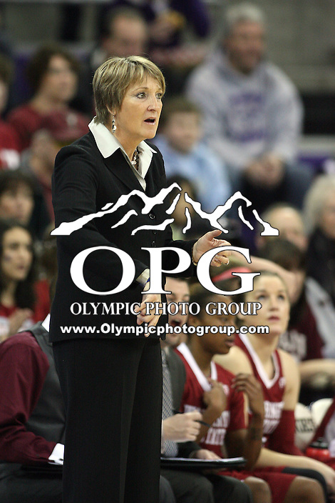 JANUARY 30, 2011:  Washington State head coach June Daugherty instructs her team from the bench.  Washington defeated Washington State 64-52 at the Hec Ed Arena in Seattle, WA.