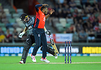 New Zealand's Colin Munro collides with England's Chris Jordan during the 4th Twenty20 International cricket match between NZ Black Caps and England at McLean Park in Napier, New Zealand on Friday, 8 November 2019. Photo: Dave Lintott / lintottphoto.co.nz