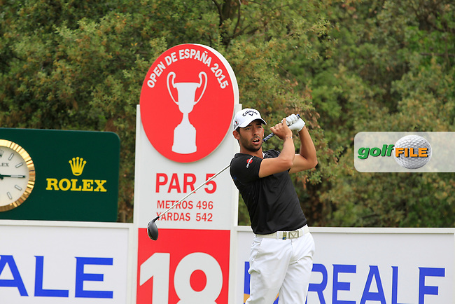 Pablo Larrazabal (ESP) on the 18th tee during Round 1 of the Open de Espana  in Club de Golf el Prat, Barcelona on Thursday 14th May 2015.<br /> Picture:  Thos Caffrey / www.golffile.ie